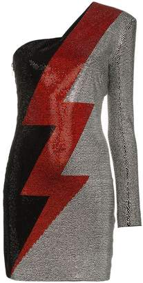 Balmain Asymmetrical rhinestone lightning bolt print dress