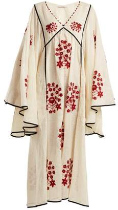 Pigeon Vita Kin - Spanish Embroidered Linen Dress - Womens - Cream Multi