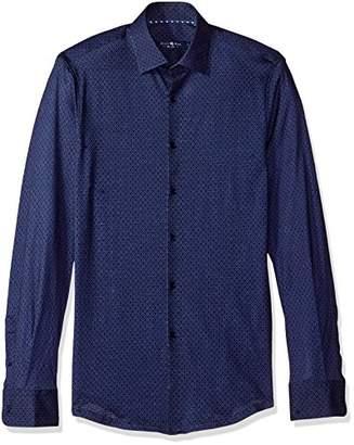 Stone Rose Men's Honeycomb Geo Knit Print Button Down Shirt