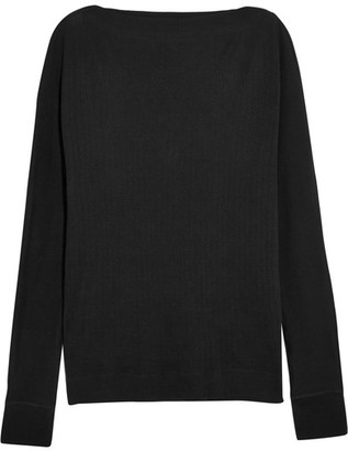 Splendid - Luxe Ribbed Cotton And Cashmere-blend Top - Black $160 thestylecure.com