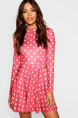 boohoo High Neck Long Sleeve Polka Dot Skater Dress