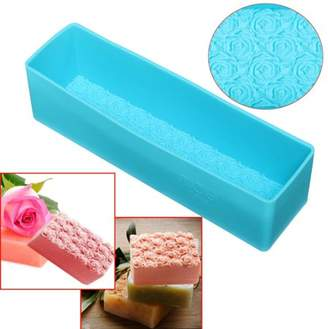"""mtqsun New Blue Rectangle Rose Silicone Fondant molds Soap Mold Toast Baking Bread Loaf Cake Tool DIY Chocolate Mould 10.4 X 2.8 X 2.8"""""""