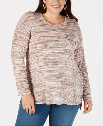 Style&Co. Style & Co Plus Size Space-Dyed Step-Hem Top