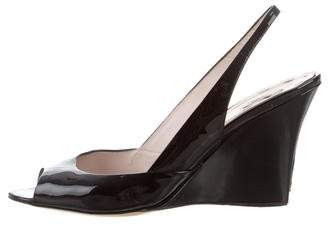 Miu Miu Patent Leather Slingback Wedges