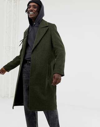 Asos DESIGN wool mix overcoat with peak lapel in green check