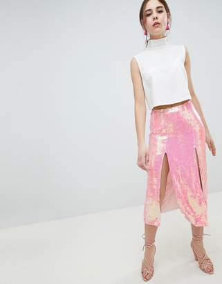 Asos DESIGN all over iridescent embellished midi skirt with thigh splits