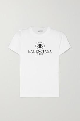 Balenciaga Logo-print Cotton-jersey T-shirt - White
