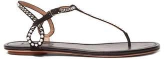 Aquazzura Almost Bare Crystal Embellished Leather Sandals - Womens - Black