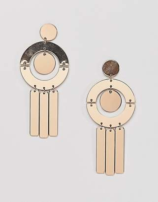 Missguided Geometric Shape Drop Earring In Gold