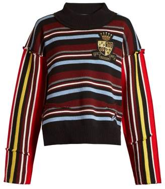 J.W.Anderson Deconstructed Striped Collegiate Sweater - Womens - Black Multi