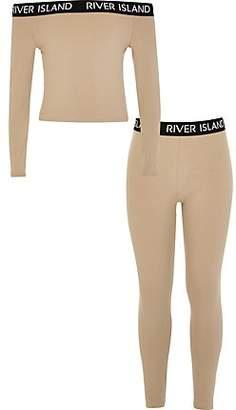 River Island Girls brown RI bardot top and legging outfit