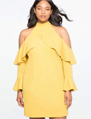 ELOQUII Cold Shoulder Halter Dress with Ruffle Details
