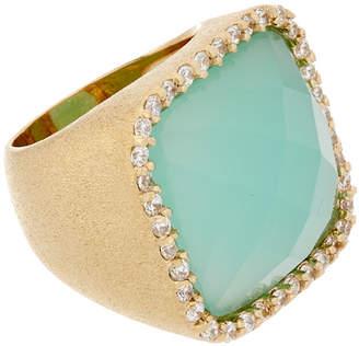 Rivka Friedman 18K Clad Chalcedony Crystal & Simulated Diamond Cocktail Ring