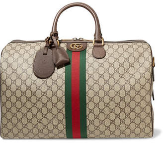 Gucci Ophidia Medium Textured Leather-trimmed Printed Coated-canvas Weekend Bag - Brown
