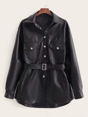 Shein PU Button Front Flap Pocket Belted Jacket