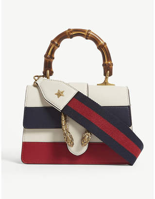 Gucci White, Blue and Red Stripe Dionysus Mini Leather Shoulder Bag