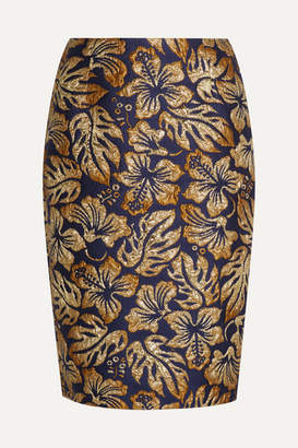 Prada Metallic Floral-jacquard Pencil Skirt - Navy