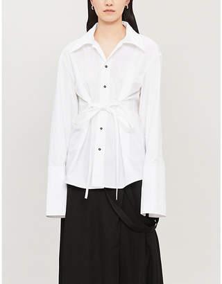 DANIEL POLLITT Revere-collar tied-front cotton shirt