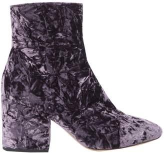Dries Van Noten Purple Velvet Boots