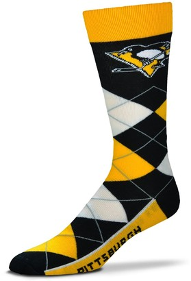 For Bare Feet Adult Pittsburgh Penguins Argyle Line Up Crew Socks