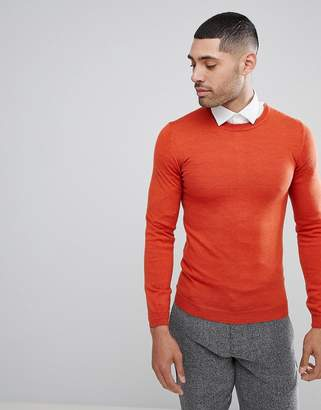 Asos Muscle Fit Merino Wool Jumper In Orange