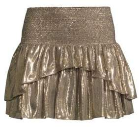 Ramy Brook Eva Ruffled Metallic Mini Skirt