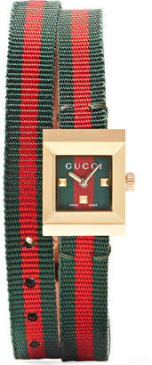 Gucci Striped Canvas, Leather And Gold-tone Watch - Red