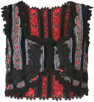 Anna Sui chenille stripe floral jacquard vest