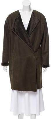 Vince Collarless Shearling Coat