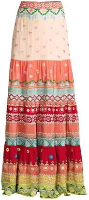 Saloni Isabel Floral Embroidered Stripe Silk Maxi Skirt