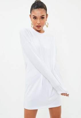 Missguided White Long Sleeve Plain T Shirt Dress
