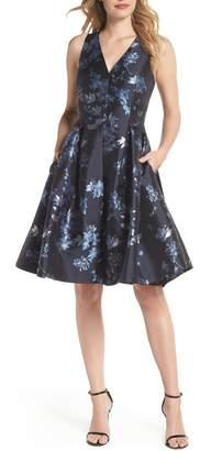Eliza J V-Neck Fit & Flare Cocktail Dress