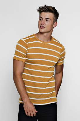 boohoo Muscle Fit Knitted Stripe Tee