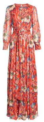 BA&SH Jasper Belted Floral Maxi Dress