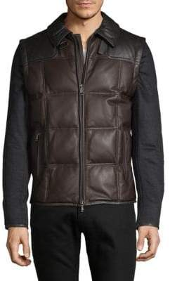 Brioni Leather & Cashmere Quilted Vest