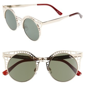 Women's Quay Australia Fleur 49Mm Round Sunglasses - Gold/ Green $60 thestylecure.com