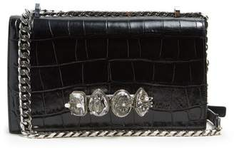 Alexander McQueen Knuckle Crocodile Effect Leather Cross Body Bag - Womens - Black