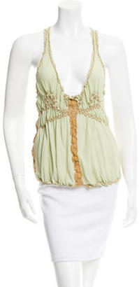 Jean Paul Gaultier Silk Ruched Top $65 thestylecure.com