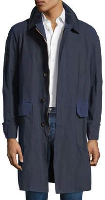 Stefano Ricci Men's Waxed Cotton Parka Coat with Leather Trim
