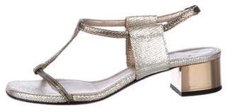 Lanvin Embossed Ankle Strap Sandals