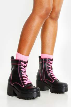 boohoo Neon Lace Up Chunky Hiker Boots