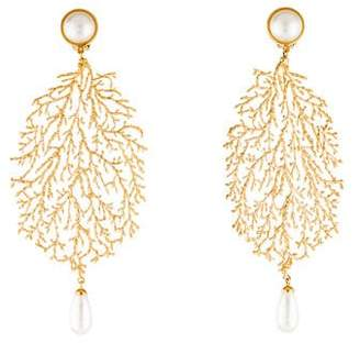 Balenciaga Faux Pearl Filigree Drop Earrings