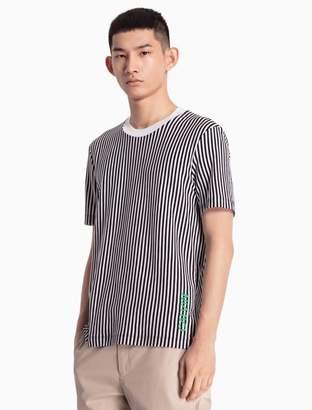 Calvin Klein vertical stripe logo cotton knit t-shirt