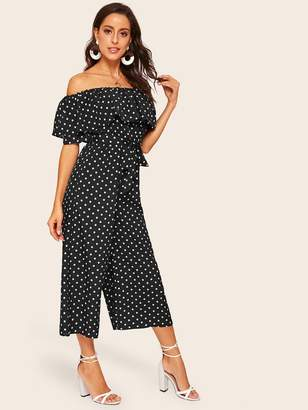 Shein Flounce Foldover Off Shoulder Wide Leg Jumpsuit