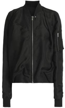 Rick Owens Ribbed Knit-Trimmed Silk Bomber Jacket