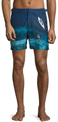 Orlebar Brown Bulldog Deep Sea Printed Swim Trunks, Blue $345 thestylecure.com