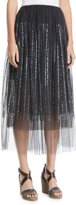 Brunello Cucinelli Sequin-Striped Tulle Midi Skirt