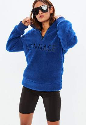 Missguided Mennace Blue Borg Sweatshirt