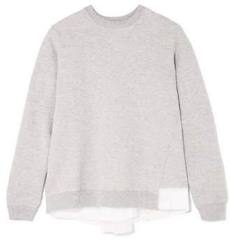Clu Satin And Mesh-paneled Cotton-blend Jersey Sweatshirt - Gray