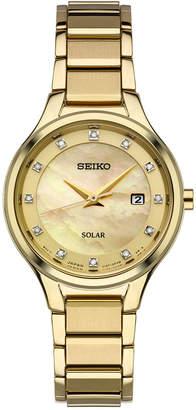 Seiko Women Dress Solar Diamond-Accent Gold-Tone Stainless Steel Bracelet Watch 29mm SUT320